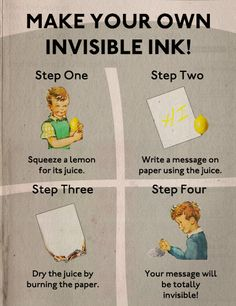 How to make invisible ink... fun for the younger, or perhaps older, kids!
