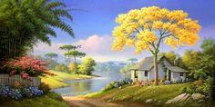 50 Trendy Tree Painting Acrylic Four Seasons Landscape Art, Landscape Paintings, Cottage Art, Thomas Kinkade, Nature Tree, Nature Paintings, Beautiful Landscapes, Art Drawings, Canvas Art