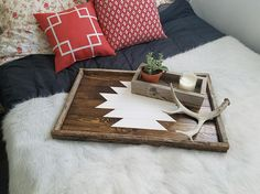 Decorative Trays For Ottomans Reclaimed Wood Tray Serving Tray Decorative Tray Wood Tray
