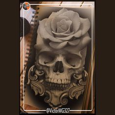 skull rose tattoo idea