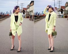 Get this look: http://lb.nu/look/8460207  More looks by Aika Y: http://lb.nu/aikastyle  Items in this look:  Yuna Yang Lime Green Blazer Dress, Lace Crop Top, Nasty Gal Velvet Choker, Aldo Studded Pumps, Khaki Mini Bag, Daniel Wellington Watch, Asos Cat Eye Sunglasses   #edgy #fashion week #street #blazer #blazerdress #fashionweek #nyfw #mfw #lfw
