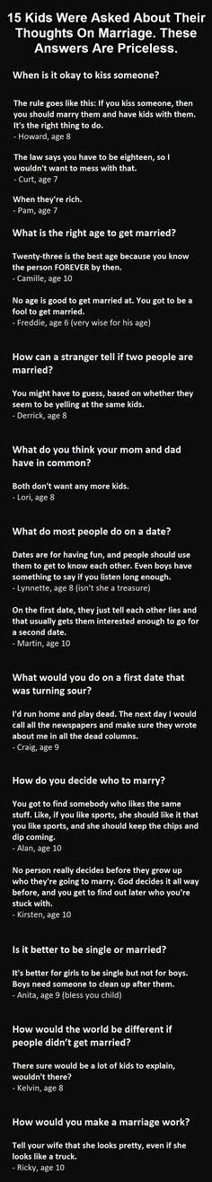 Kids thoughts on marriage. This is golden