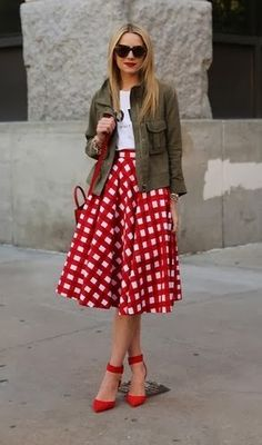 Street style for spring - khaki jacket and red and white plaid full skirt with red ankle strap shoes