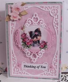 "CraftEcafe ""Thinking of You"" Shabby Chic Yorkie Card sewn OOAK CTD"