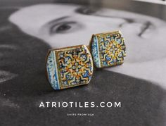 Portugal Antique Azulejo Tile Replica Cuff Links - from Évora Pousada and University (see photos) Unisex _ gift box included