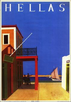 Hellas - Greece. An advertising  from the Greek National Tourism Organisation reproducing vintage travel / tourism posters. This poster was originally published in 1956, designed by Y. Moralis.