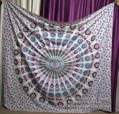GYPSY BLUE COTTON TAPESTRY TRIBAL MANDALA BEACH COVER THROW HANGING BEDSHEETS FROM INDIA  240 cm, or any custom sizes on demand. Color:- Turquoise, red, white, black, green, grey, or custom colors. Designs:-Many popular design, hippie designs, classic designs, God design, celtic design. Uses:-Bedspread, beach throw, wall hangings, ceiling hanging, throw, tapestry,etc. ia@shabanaexim.com +919891792919 www.shabanaexim.com