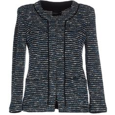 Atos Lombardini Blazer ($110) ❤ liked on Polyvore featuring outerwear, jackets, blazers, deep jade, blazer jacket, multi pocket jacket, boucle blazer, boucle jacket and long sleeve jacket