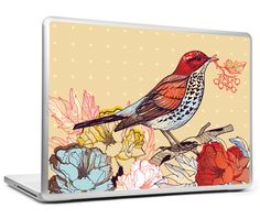 Birdie Line Art Laptop Skin // PosterGully #Shopify #gifts