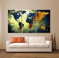 """GROTE 30 """"x 60"""" 3 panelen Art Canvas Print wereld kaart textuur Abstract Blue geel oranje Wall Decor kantoor aan huis interieur (ingelijst 1.5"""" diepte)"""