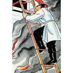 Buyenlarge 'Climbing the Ladder in Harms Way' by Julia Letheld Hahn Painting Print