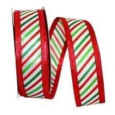 Diagonal Stripes Ribbon: Red and Green Yards) Christmas Traditions, Christmas Themes, Christmas Decorations, Tiger Stripes, Green Stripes, Wreath Supplies, Craft Supplies, Ribbon Candy, Christmas Ribbon