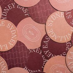 East Village Sydney Branded Coasters - chic, rich and sophisticated. coasters, print, restaurant collateral