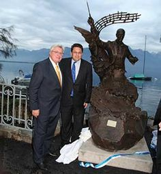 MGIMO's Jubilee Celebrated on the Banks of the Leman  A monument to the outstanding Russian composer Igor Stravinsky was unveiled in Montreux on 25 October last year. This expressive, full‑scale statue, the work of the Russian sculptors N. Kuznetsova and N. Muromskaia, is located on the banks of the river near the concert hall named in the composer's honour.   #Expat    #Expat_magazine   #Switzerland   #Expat_Switzerland   #Expat_Personalities