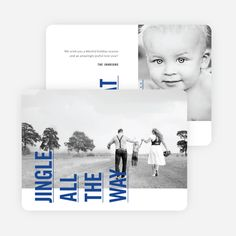 Sideways Text Christmas Cards - Blue