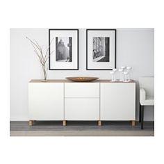 BESTÅ Storage combination with drawers - oak effect/Lappviken white, drawer runner, soft-closing - IKEA