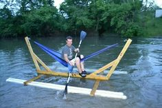 Pvc pipes, 2x4's and a hammock.
