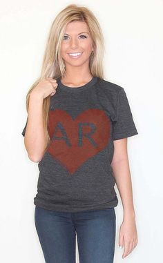 Exclusive Riffraff copyrighted design. These Riffraff tees are a perfect way to wear a bit of your southern heritage on your sleeve. Arkansas Love! $32