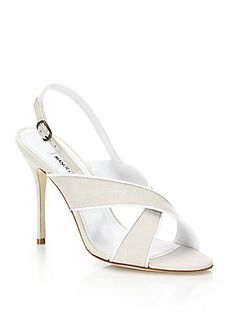 Manolo Blahnik Kilroe Crisscross Linen Slingback Sandals