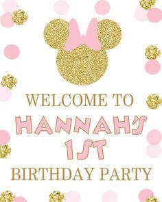 Oro brillo y rosa Minnie Mouse cumpleaños fiesta imprimibles