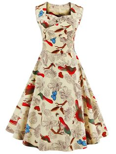 $14.63 Vintage Sweetheart Neck Flower and Bird Pattern Dress For Women