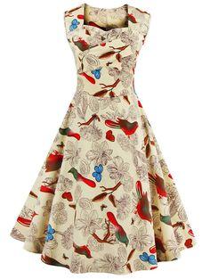 $14.63 Vintage Sweetheart Neck Flower and Bird Pattern Dress For Women
