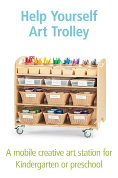 If you don't have space in your classroom for a complete atelier, try this handy preschool art cart. It's really a mobile art studio, with spaces for paints, brushes, scissors, paper and art supplies of all kinds. Find the details here. Preschool Classroom, Preschool Art, Art Classroom, Art Cart, Mobile Art, Classroom Community, Classroom Setting, Soothing Colors, Art Station