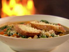 Winter Minestrone and Garlic Bruschetta Recipe : Ina Garten : Food Network - FoodNetwork.com