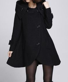 Black cloak wool coat Hooded Cape women Winter wool coat by MaLieb, $139.00