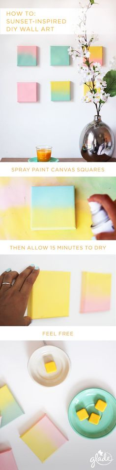 Take the wow factor of a summer sunset and bring it straight to your living room with this DIY wall art décor. All you need is 15 minutes, four canvas squares, pastel spray paint and the scent of a Glade Soak It In Summer Swim candle and wax melts from our new Escape to the Lake summer collection to get you in the mood to seize summer's days.: