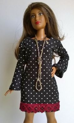 2dd2671ef0d77 Curvy barbie dress in black with white dots by Schaurein on Etsy Doll  Clothes Barbie