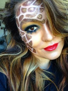 Stylized Giraffe makeup by Sandi Jarquin. http://www.baobella.com/photos/photoview/Giraffe-makeup