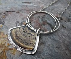 Layers Revealed || organic circles with Montana moss agate cabochon || metalsmith stone pendant (6112) Silver Earrings, Dangle Earrings, Handcrafted Jewelry, Unique Jewelry, Sterling Silver Flowers, Moss Agate, Pendant Set, Copper Jewelry, Stone Pendants