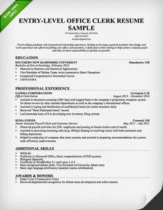 Entry Level Office Clerk Resume Template
