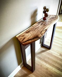 Shagbark hickory and black walnut hallway table