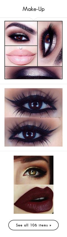 """""""Make-Up"""" by gisella-jb-pintos ❤ liked on Polyvore featuring beauty products, makeup, eye makeup, eyes, lips, beauty, red lip makeup, glitter eye makeup, nude cosmetics and glitter makeup"""
