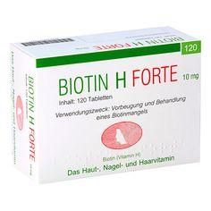 BIOTIN H forte Tabletten - Das Schönheits-Vitamin für Haut und Haare! Enthält 10 mg Biotin pro Tablette.    Wer unter sprödem, mattem Haar und unter Hautproblemen leidet, der sollte überprüfen lassen, ob ein Mangel an Vitamin H (=Biotin) vorliegen könnte.