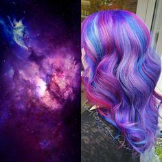 Galaxy hair - not to be confused with rainbow hair, this trend blends tones Beautiful Hair Color, Cool Hair Color, Hair Colors, Galaxy Hair Color, Colored Hair Tips, Fantasy Hair, Unicorn Hair, Mermaid Hair, Hair Photo