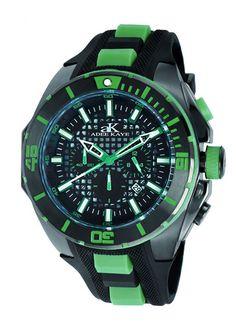 Adee Kaye Men's Grid Collection date chronograph IP Black Black green Band Black Dial