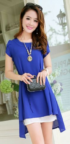 Summer Chiffon Dress Gathered Waist YRB0515