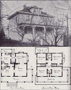 1908 Western Home Builder - Design No. 13 - V.W. Voorhees - Seattle Residential Architecture - 1900s Foursquare with Classical and Craftsman Detail