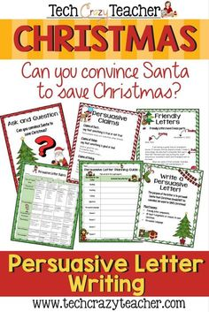 Santa has decided to cancel Christmas! Can you persuade him with your personal letter to save Christmas? Students write persuasive letters to convince Santa to save Christmas! This resource is filled with graphic organizers to help your students craft the Teaching Writing, Teaching Ideas, Teaching Tools, Teaching English, 3rd Grade Writing, Third Grade, Fourth Grade, Persuasive Letter, Student Crafts