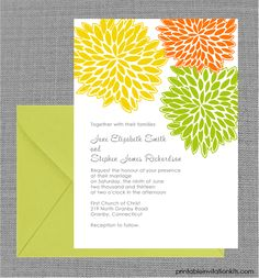 FREE PDF Download - petal clusters spring wedding invitation. Template is very easy to edit and print at home.