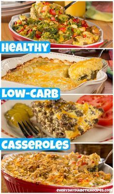 10 Easy, Tasty & Low-Carb Casseroles | Including breakfast, sides, and dinner - these comforting casserole recipes are so easy to throw together. Each one fits into a #diabetic #diet, while satisfying your savory cravings with less than 10 grams of carbs per serving. You're gonna want to Pin this one!