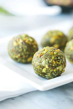 Matcha pistachio bliss balls. Gluten-free, paleo and vegan.