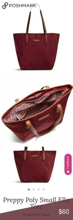 Vera Bradley preppy poly tote in Claret ??VALENTINES DAY SPECIAL?? Vera Bradley's new styles are out for spring!!! This poly tote is the perfect size to hold all your essentials without being too big to carry comfortably. Very pretty dark red with contrast details. Vera Bradley Bags Totes