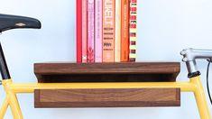 It's a bike rack AND a bookshelf! Knife & Saw / Home of The Bike Shelf & Other Wooden Objects Rack Velo, Indoor Bike Rack, Bike Storage Solutions, Bike Hanger, Bike Shelf, Wooden Bicycle, Bicycle Decor, Multipurpose Furniture, Bicycle Storage