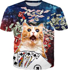 This Vegas inspired surprised cat just hit the jackpot. Original design by BigTexFunkadelic™️, available on select product types. Cat Shirts, Poker, Space, Cats, Mens Tops, Life, Floor Space, Gatos, Cat
