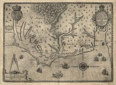 Antique map of Virginia and North Carolina from 1590