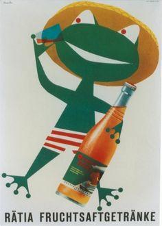 Swiss/German ad poster for Ratia fruit soft drinks - 1958 - artist Donald Brun.